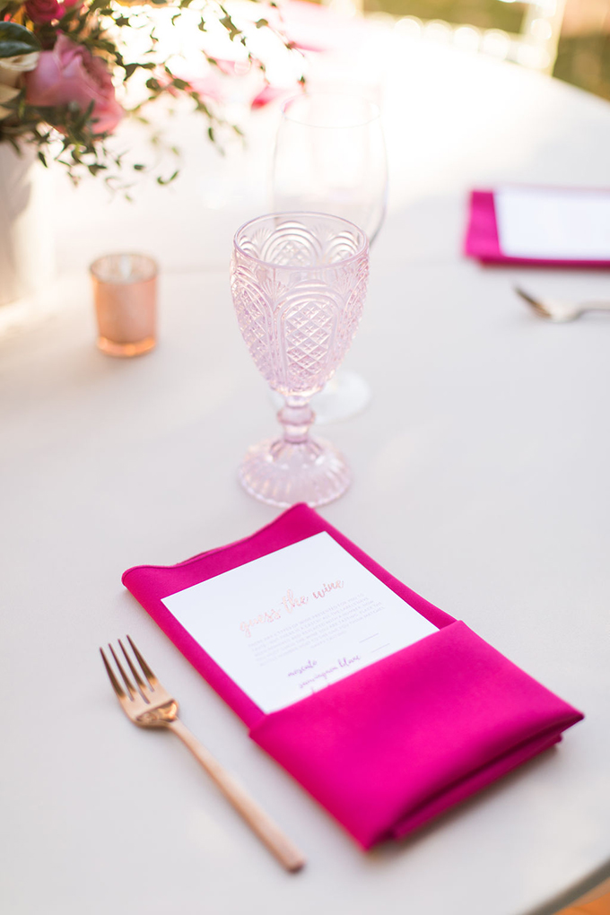 Copper cutlery, hot pink napkins, blush glasses and candle holders made the tablescape super girlish and glam