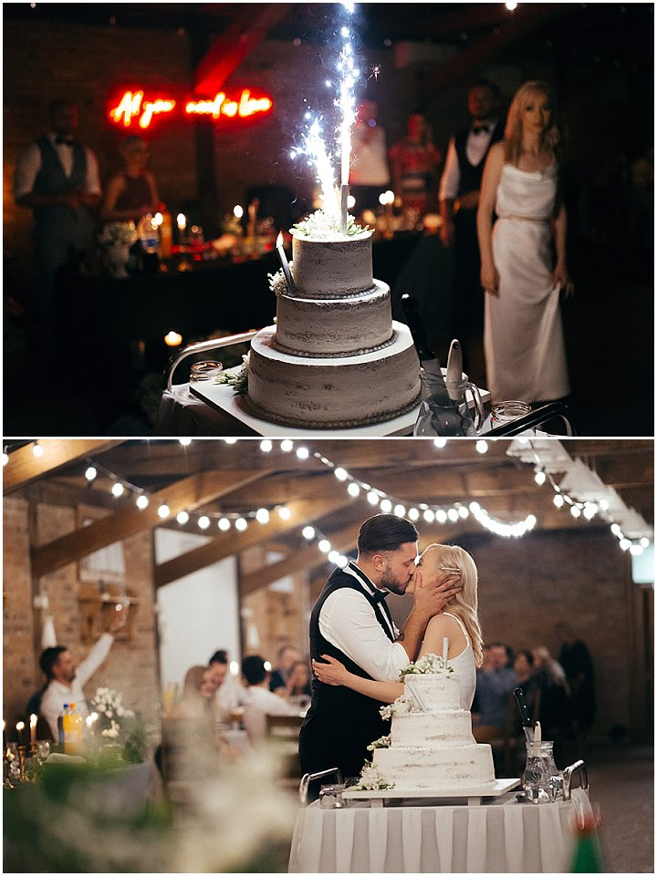 The wedding cake was a semi-naked one, with greenery and sparklers