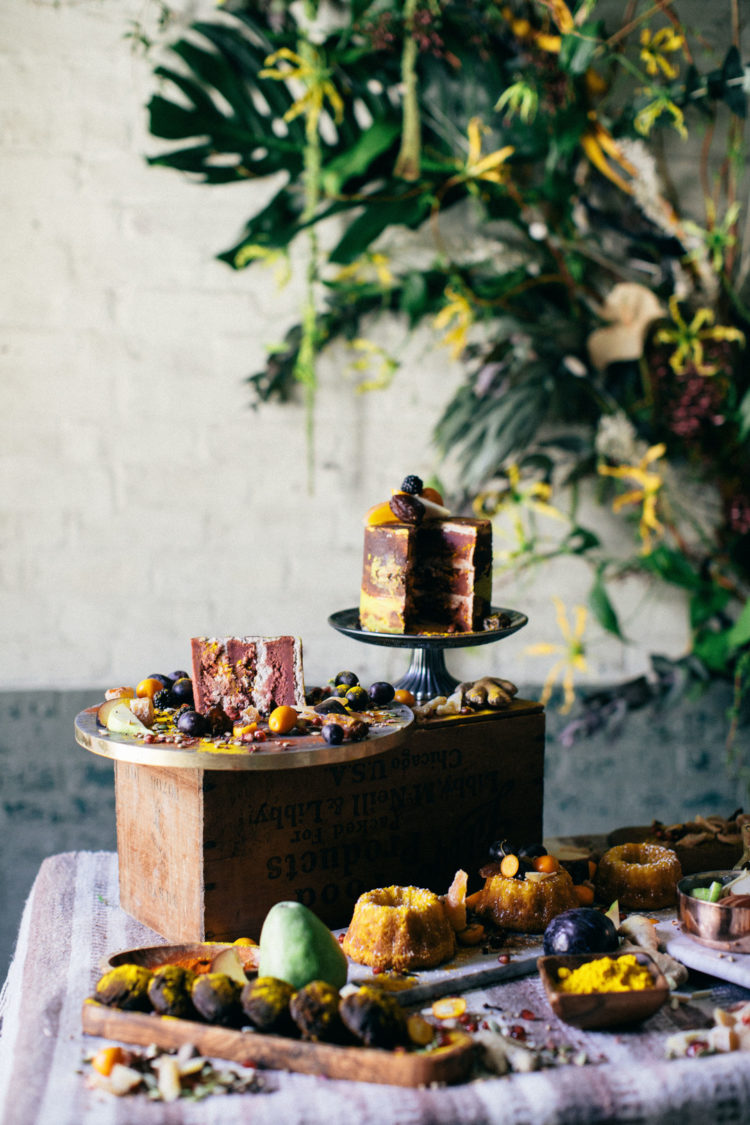 There was a lush decadent dessert table with a wedding cake, cupcakes and macarons, bundt cakes and souffle