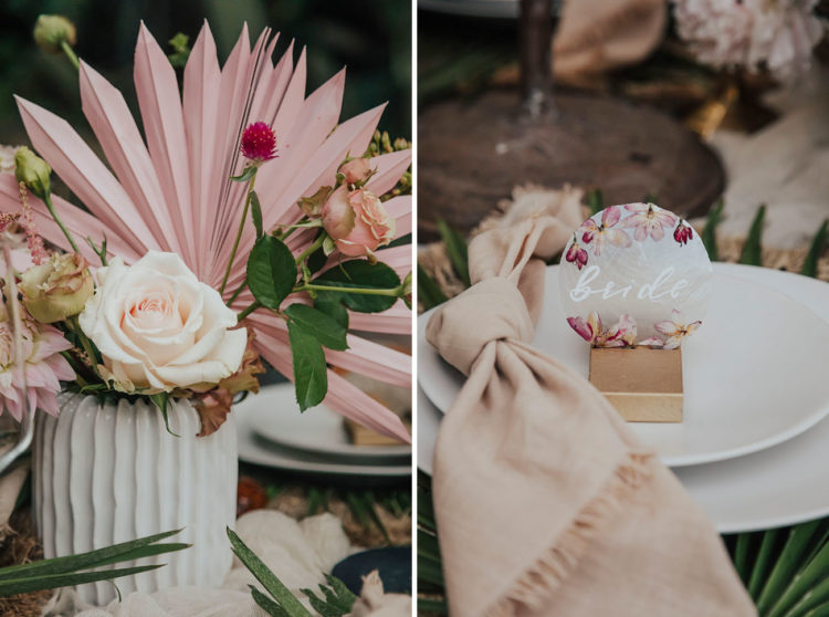 The cards were done with pressed flowers and blush napkins added to the tablescape
