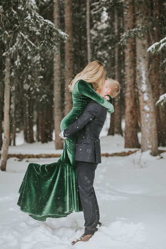 a green velvet mermaid wedding dress with long sleeves can make a statement both in the fall and winter