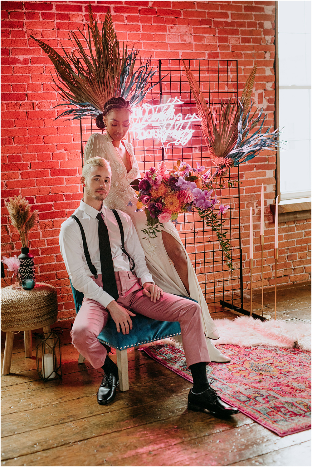 This absolutely jaw dropping wedding shoot was done in an industrial loft and was rcokign all things badass and neon pink