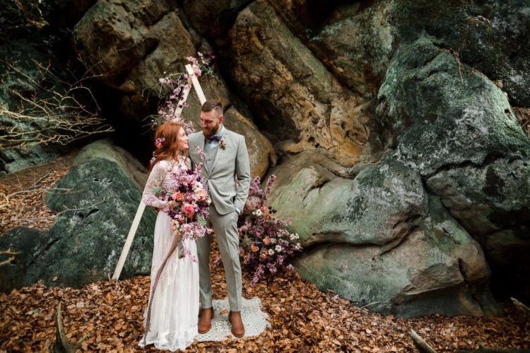 Pink Nature-Inspired Elopement On The Rocks