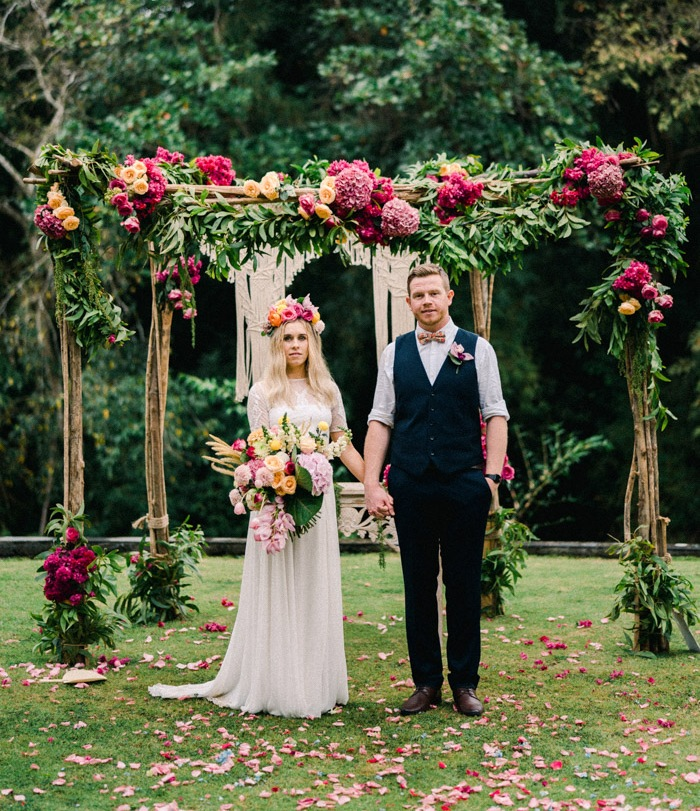 This bright and colorful wedding took place in Bali, it was done in boho style and lots of color