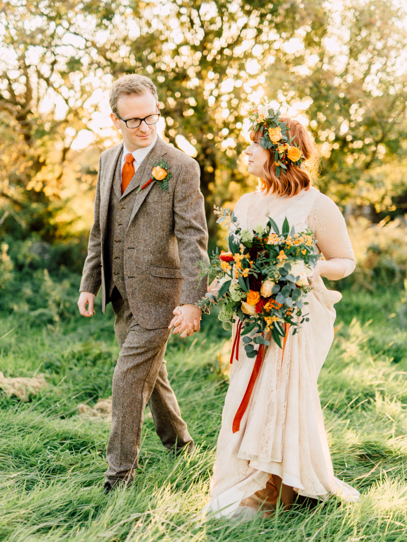 an outdoor vegan fall wedding