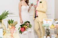 01 This colorful tropical wedding shoot is inspired by Palm Springs vibes and is bright and fun