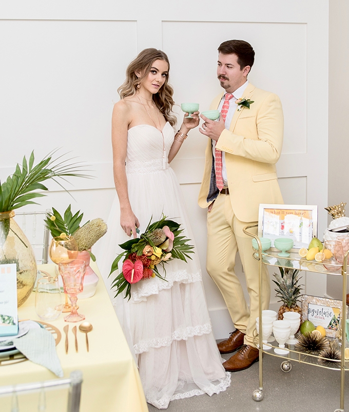 Tropical Retro Wedding Shoot With A Bright Color Palette