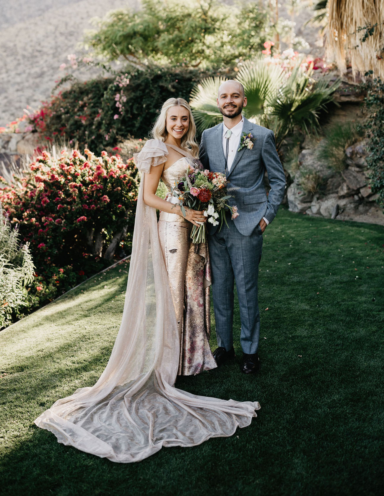 This couple went for a wedding in Palm Springs, and most of family and friends took part in the wedding