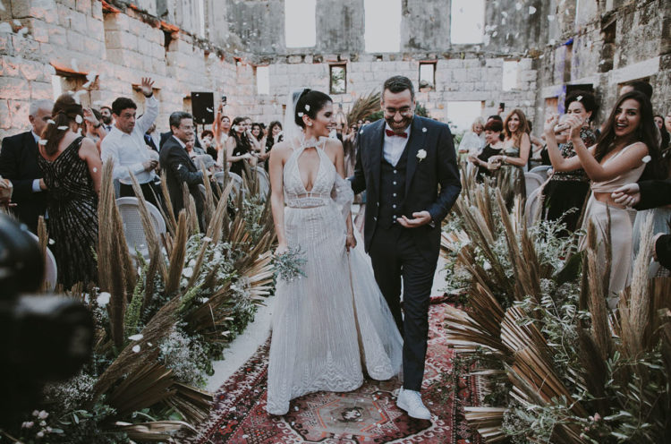 This unique wedding took place at an abandoned silk factory   in the ruins that were a blank canvas to decorate