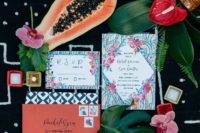 02 The wedding invitation suite was colorful and tropical, as it was a jungalow wedding