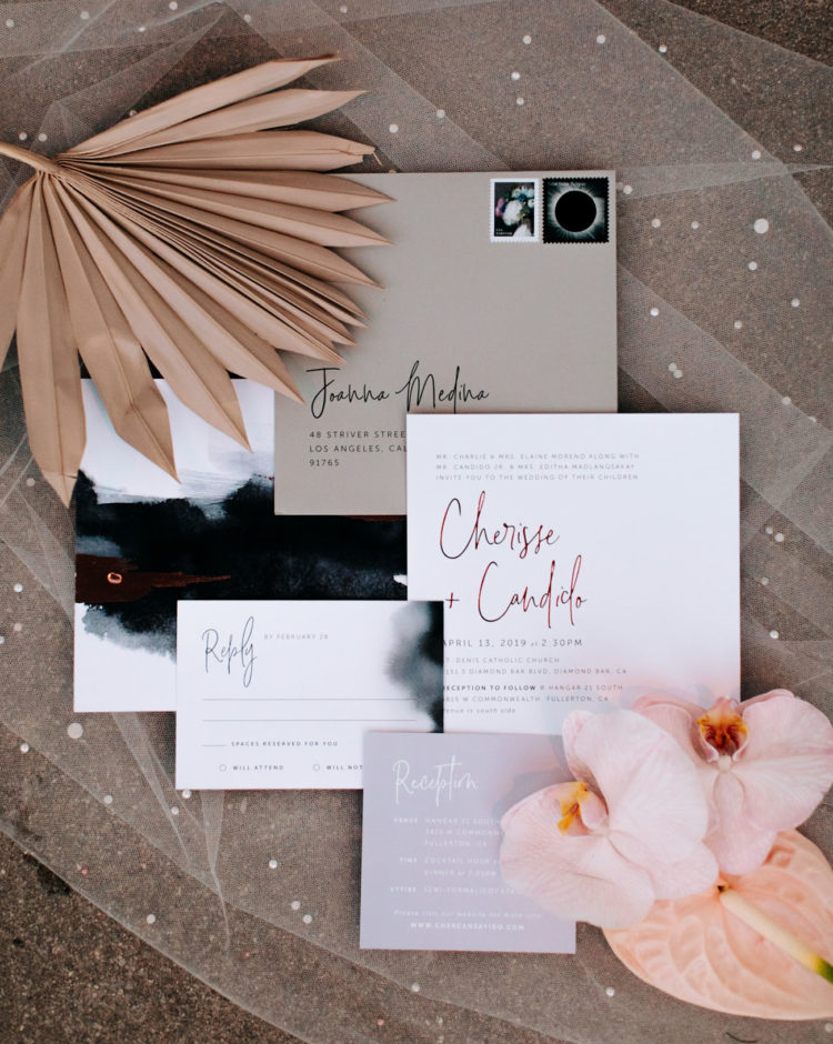 The wedding invitations were done in neutrals, black and with ombre effects  plus calligraphy