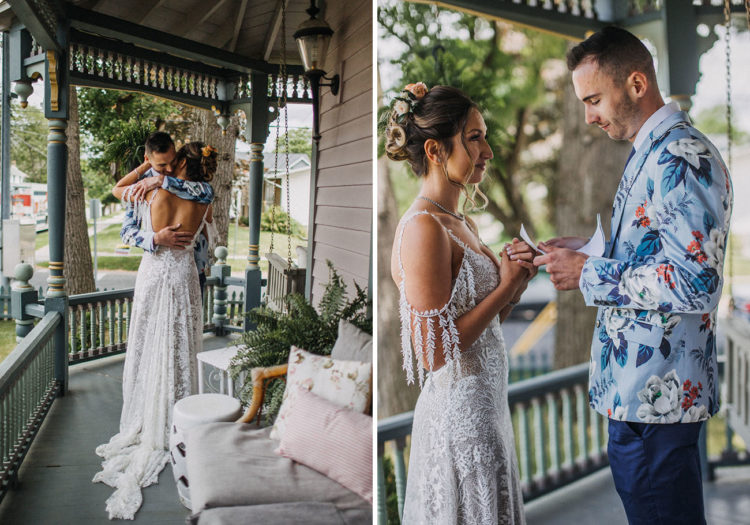 The bride was wearing a flroal lace wedding dress with a cold shoulder, a cutout back, a train, the groom was rocking navy pants, a navy tie, a floral jacket