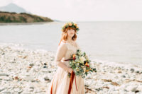 04 The bride was wearing a neutral lace wedding dress with illusion sleeves and a floral crown