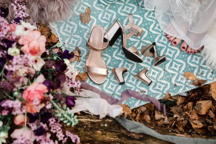 The wedding shoes were metallic and interchangeable