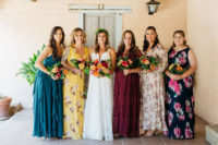 05 The bridesmaids were wearing mismatched floral and solid dresses