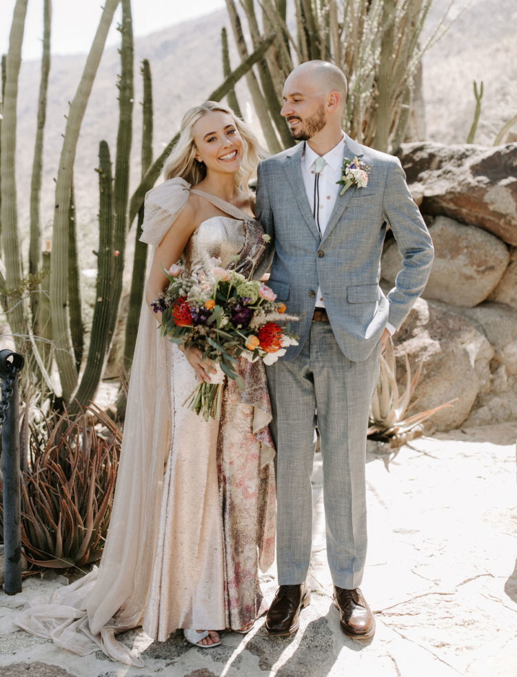 The wedding bouquet was bright and dimensional, with much texture
