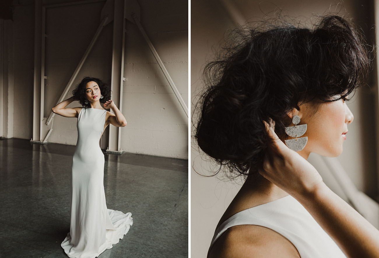 a chic medium hair wedding hairstyle in a messy style