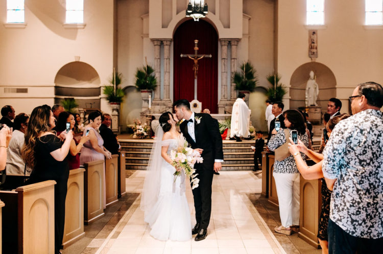 The ceremony took place in a church