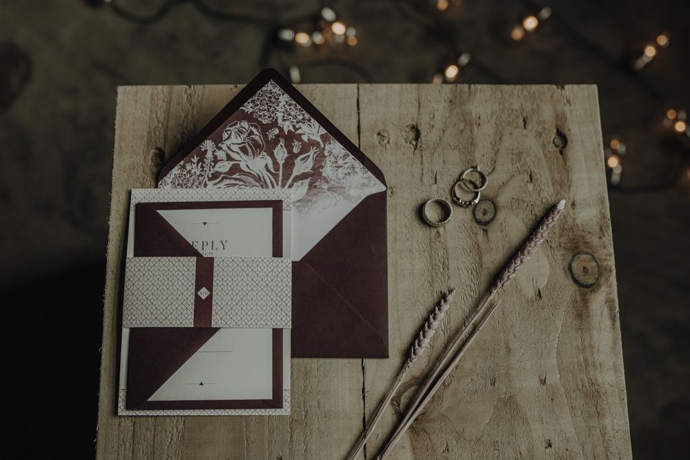 The wedding invitation suite was modern and contrasting