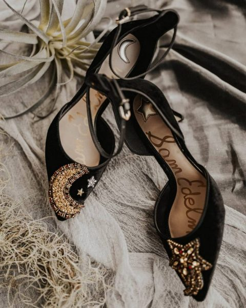 chic black velvet shoes with star and a moon of shiny gold and silver beads for a celestial bride