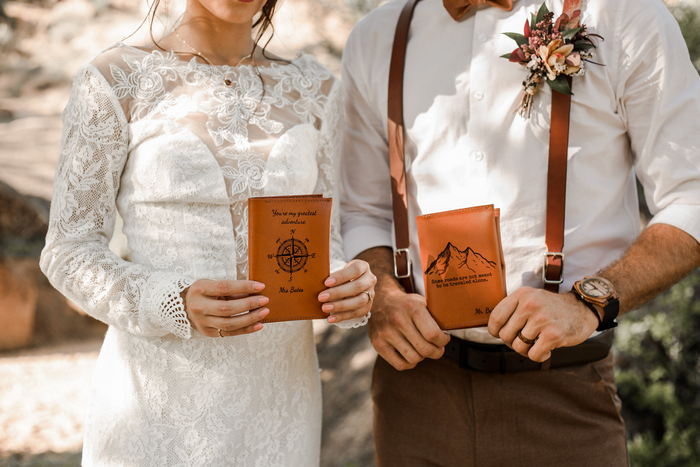 The vows were put into chic amber leather journals