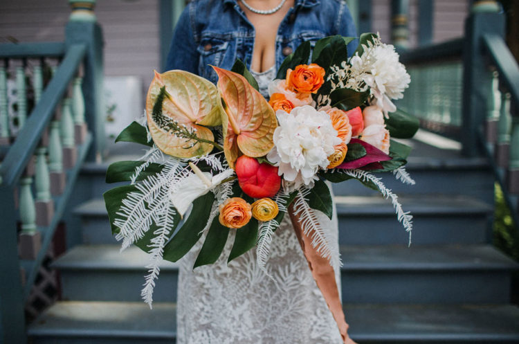 The wedding bouquet was super bright and bold, with large fronds and much texture