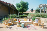 07 The wedding lounge was done with rattan furniture and colorful pillows