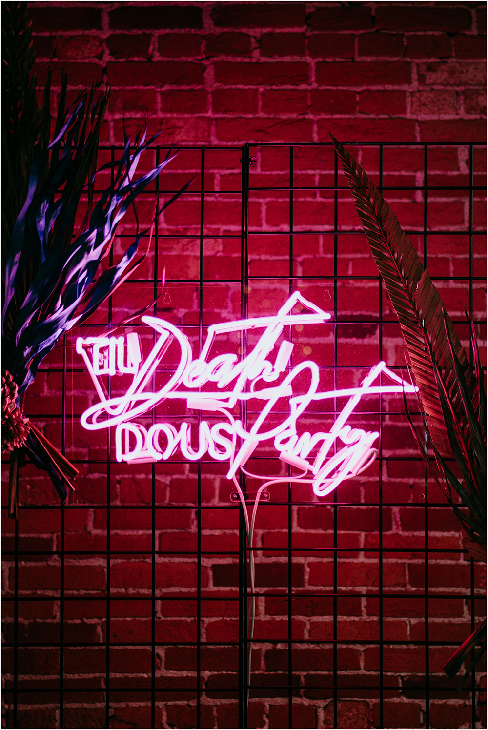 The bright neon sign put it all together bringing a party vibe to the space