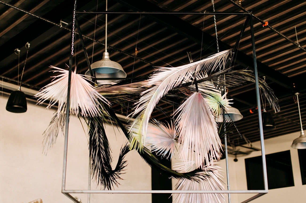 The installations, which decorated the venue, were done with painted fronds and looked super modern and edgy
