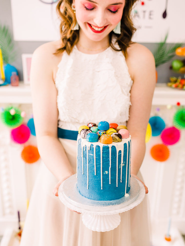 The second wedding cake was a blue one topped with colorful chocolates