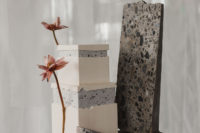 08 The wedding cake was bold and terrazzo inspired and served on it, too