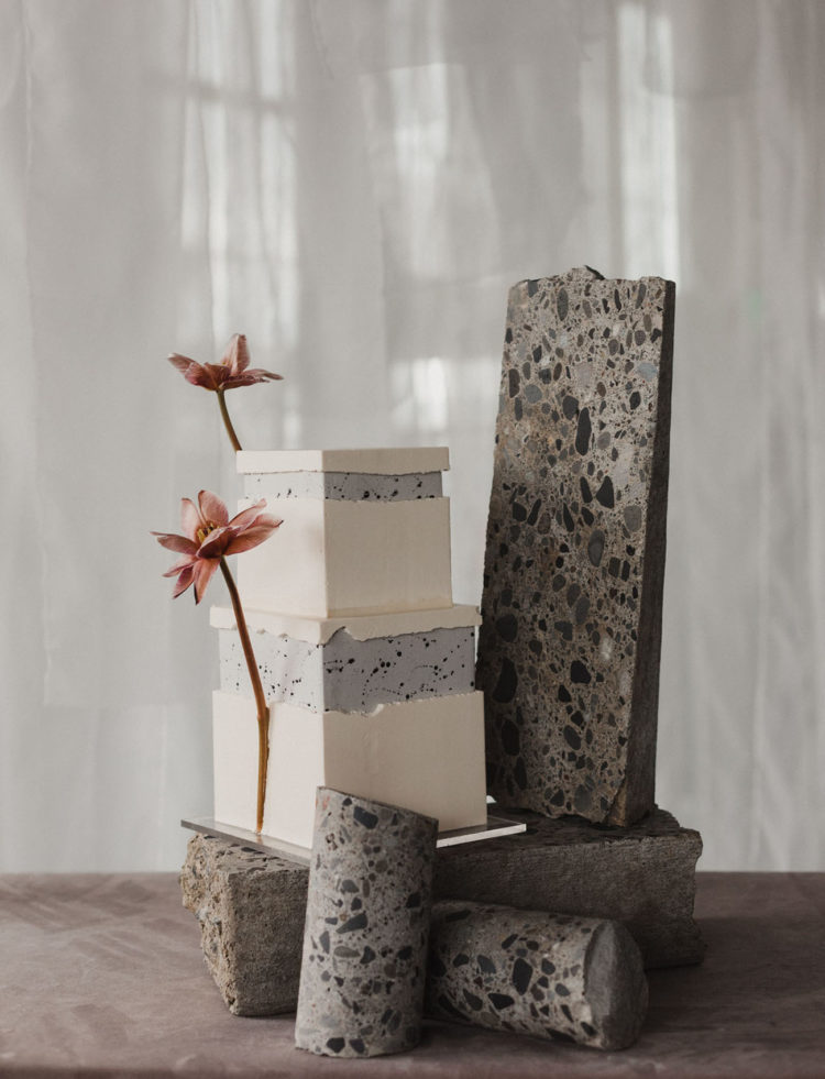 The wedding cake was bold and terrazzo inspired and served on it, too