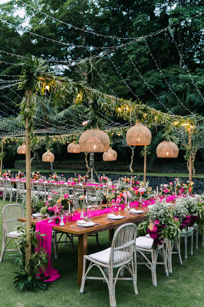 The wedding reception was lit up with large wicker lamps and traditional lights