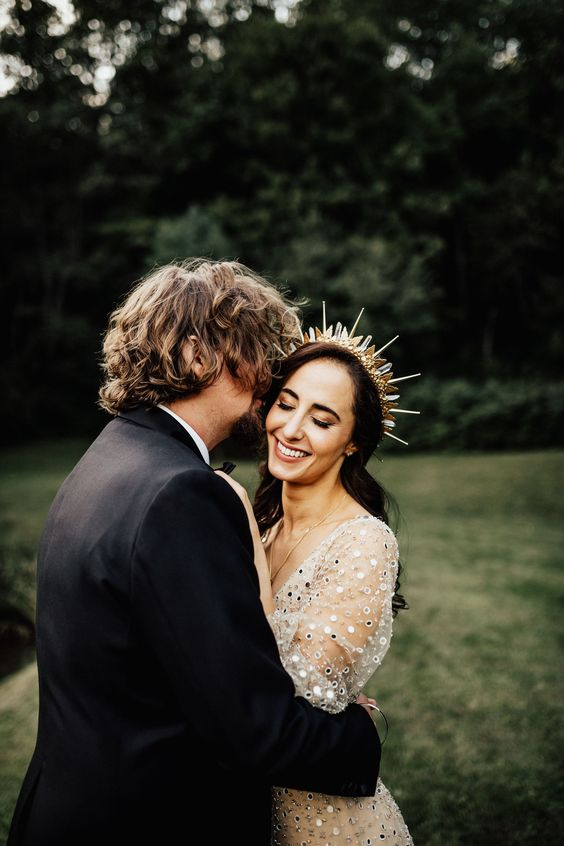 a chic spiked bridal tiara with crystals and metallic touches for an ultra modern and super bold bridal look