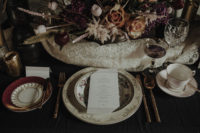 09 The wedding tablescape was a combo of elegant porcleain, gilded touchesm candles and fantastic florals