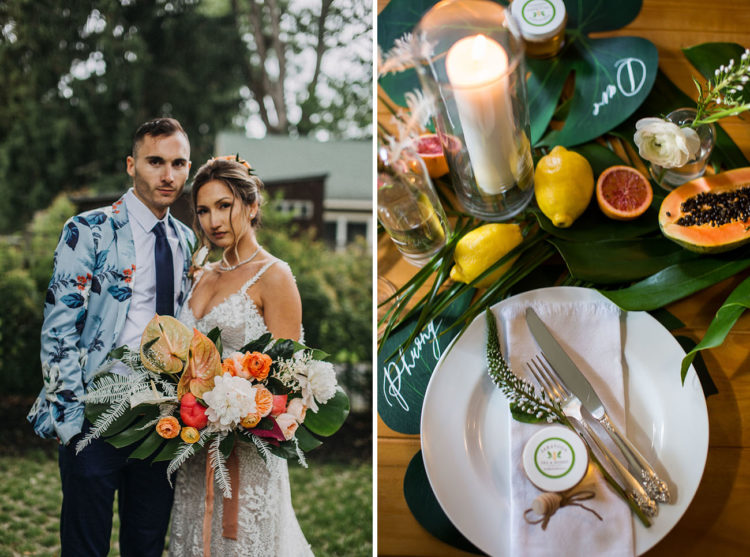 The wedding tablescape was done with tropical leaves, fruits, candles and simple plates for a modern feel