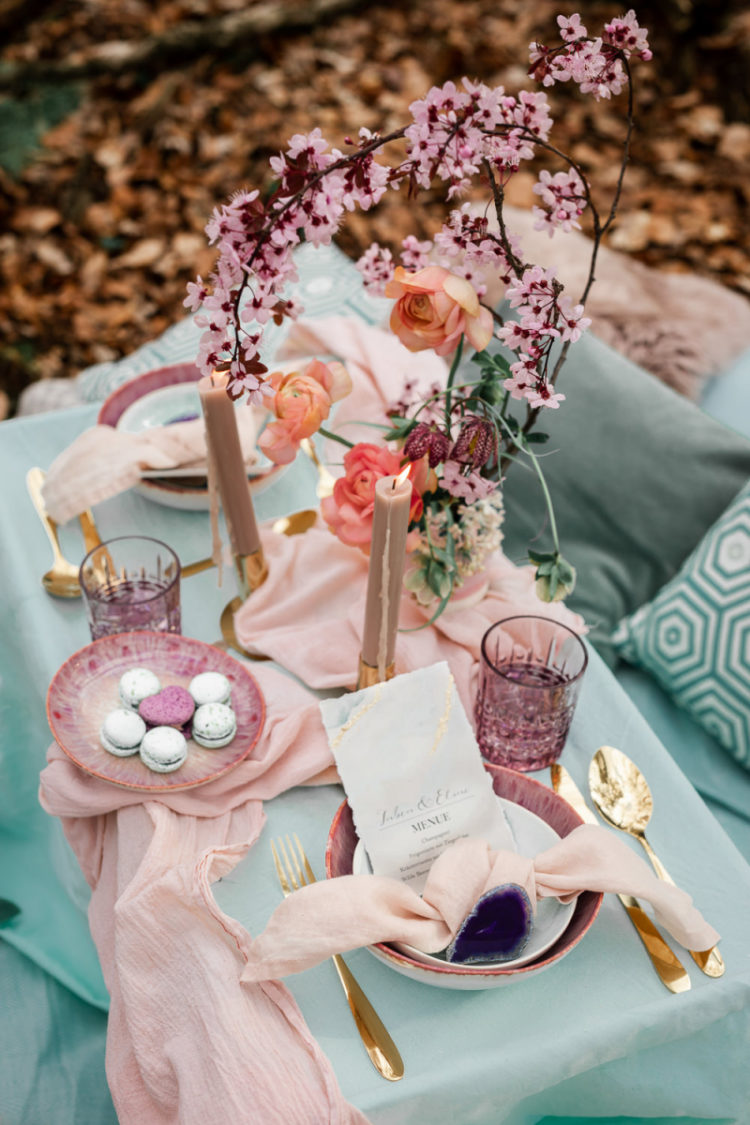 There were macarons, blush candles and a beautiful blush table runner