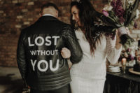 10 The groom was wearing a black leather jacket with personalization