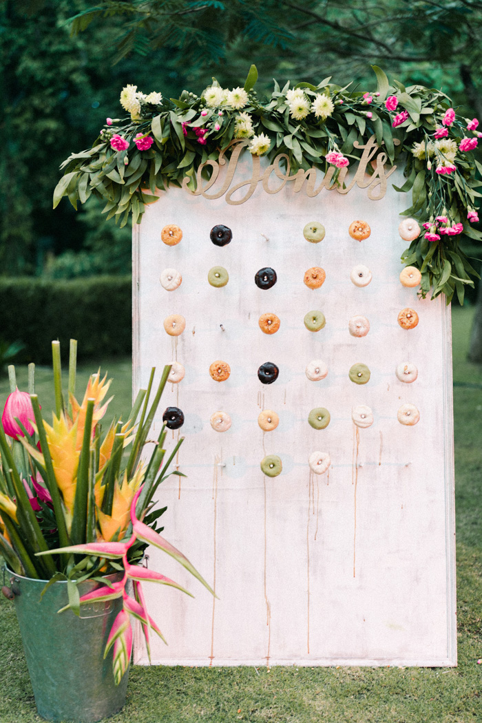 a stylish and trendy donut wall display for a wedding