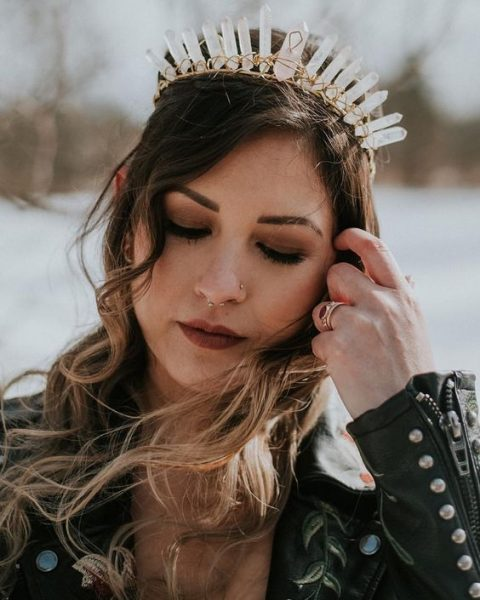 a crystal tiara is chic way to add a bit of edge, and a leather jacket will highlight it even more