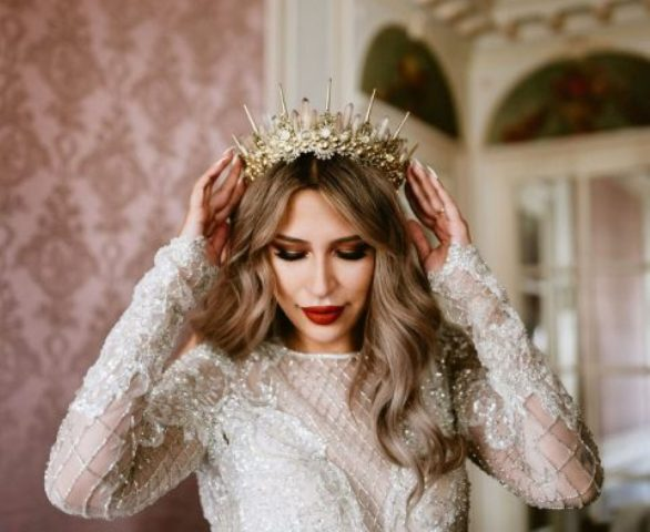 a gold embellished bridal crown with spikes for a more glam look just wows