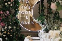 16 a half moon neon sign with a metallic gold base is a super cool idea for a celestial wedding