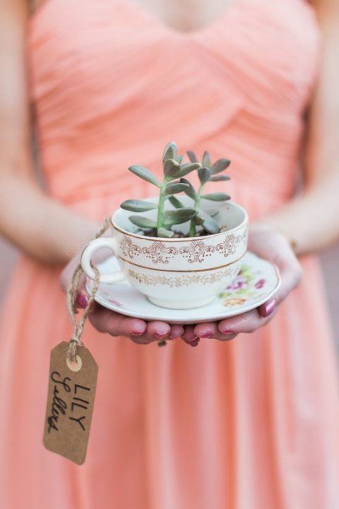 a floral teacup with potted succulents and a cardboard tag as a favor and place card