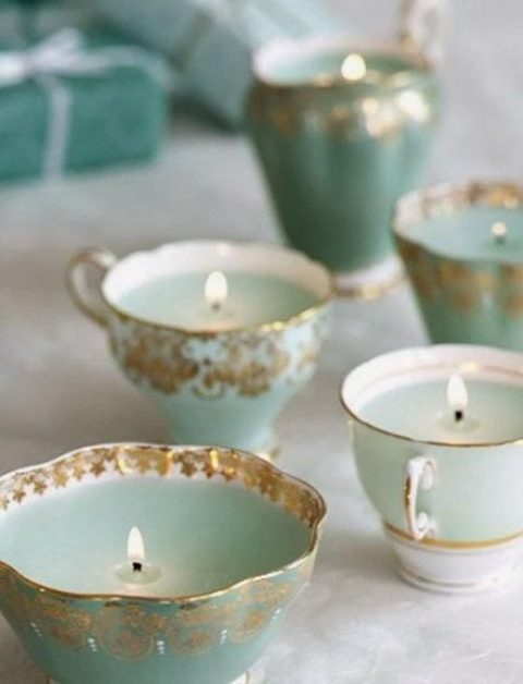 vintage teacups with candles inside are an easy DIY and they can be nice wedding favors