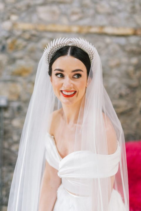 a gorgeous tiara inspired headband with a long veil attached for a fashion forward bride