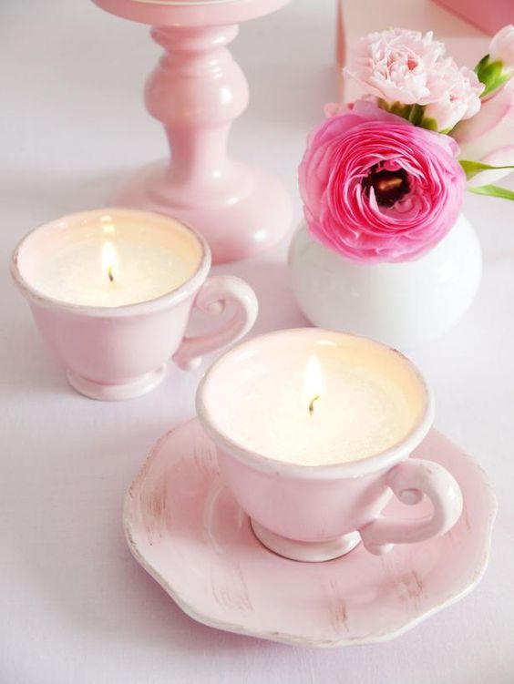 blush vintage teacups with candles are nice and budget friendly wedding favors you'll love