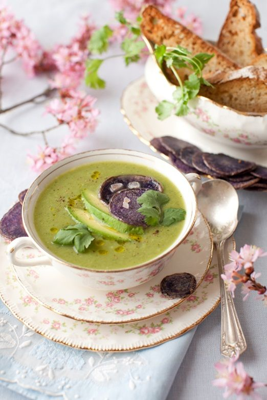 pretty floral vintage teacups are a unique and creative idea to serve soup at your wedding