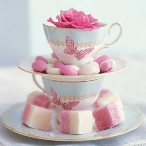 serve your candies and other desserts in mini stands made of saucepans and teacups plus a bloom on top