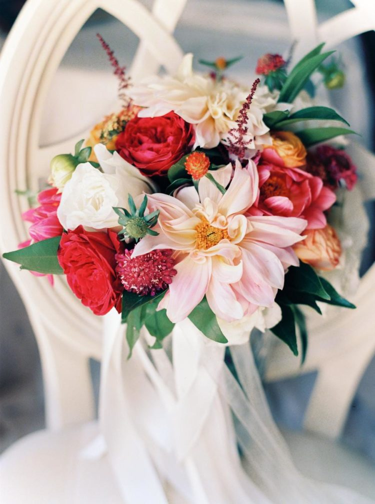 The wedding bouquet was full of color and complemented with soft and subtle tones