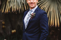 04 The second groom was wearing a midnight blue suit wiht a printed tie and a matching boutonniere